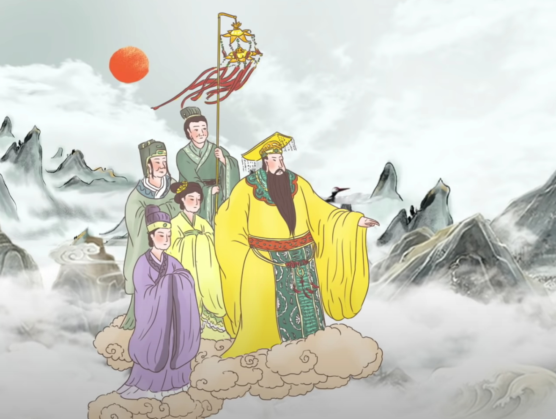 Đó chính là Thái Thượng Lão Quân dẫn đầu chúng Thần, giáng lâm tới nơi ở của Trương Đạo Lăng (Ảnh chụp màn hình video)