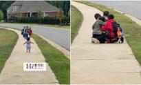Video: Bé gái đáng yêu chạy ra đón 3 anh trai đi học về thu hút 20 triệu lượt xem