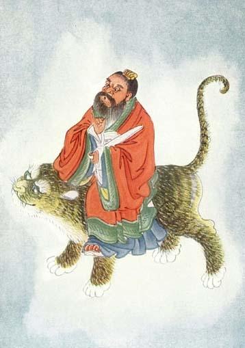 Ảnh vẽ Trương Đạo Lăng cưỡi hổ linh. (Ảnh: wikimedia)