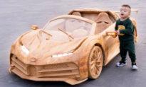 Ông bố Việt chế tạo xe Bugatti bằng gỗ có thể lái được cho con trai