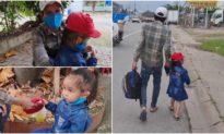 Cha nghèo dắt theo con gái 5 tuổi, đi bộ từ Hóc Môn về quê nhà Bình Phước
